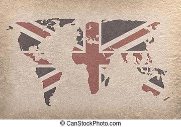 UK world map - vintage world map with UK flag on paper craft...