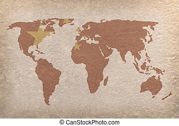 China world map - vintage world map with China flag on paper...