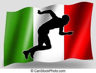 Country Flag Sport Icon Silhouette Italian Athletics