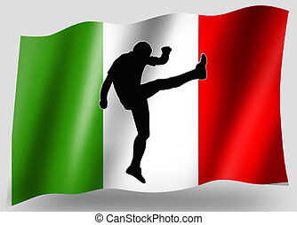 Country Flag Sport Icon Silhouette Italian Rugby Kick
