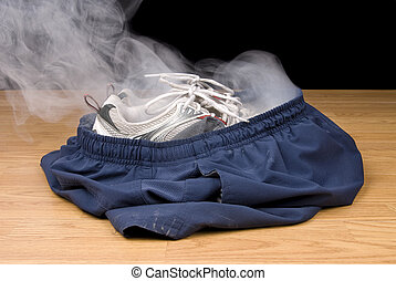 Smoking shorts and tennis shoes - A pair of smoking shoes...