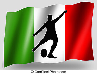 Country Flag Sport Icon Silhouette Italian Rugby Place Kick