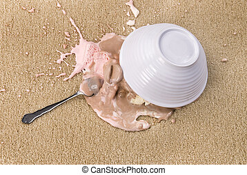 Spilled Ice Cream - A bowl of spilled Neopolitan ice cream...