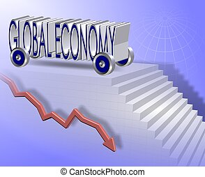 Global economy - Words spelled global economy with wheels...
