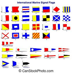International marine signal flags - A complete set of...