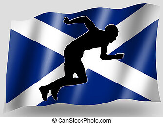 Country Flag Sport Icon Silhouette Scottish Athletics