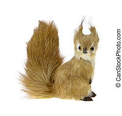 Furry toy fox - Toy fox with very bushy tail on a white...