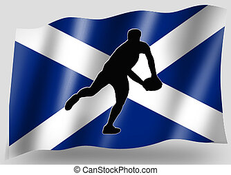 Country Flag Sport Icon Silhouette Scottish Rugby Pass -...