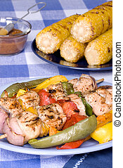 Barbecued chicken kebab dinner - A barbecued chicken kebab...