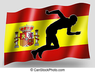 Country Flag Sport Icon Silhouette Spanish Athletics