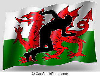 Country Flag Sport Icon Silhouette Welsh Athletics