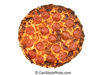 Pepperoni pizza - A whole pepperoni pizza isolated on a...