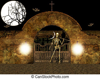 Illustration of the cemetery guardian.
