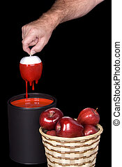 Painting red apples