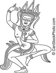 """Apsara(Outline) - The Best of Arts """"Apsara"""" of Angkor Wat..."""
