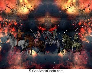 el, cuatro, jinetes, Apocalipsis