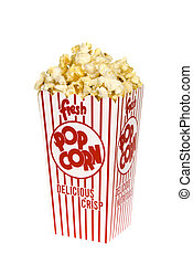 Box of popcorn - A container of movie popcorn isolated on a...