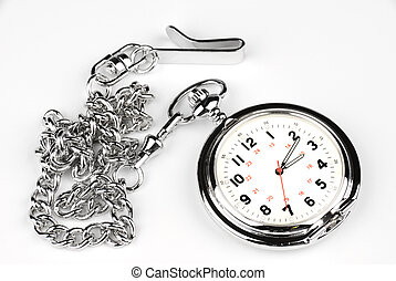 Pocket watch on white background - A silver, chrome pocket...