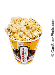 Container of popcorn - A piping hot container of movie...