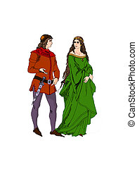 Medieval lovers - Medieval couple talking about love