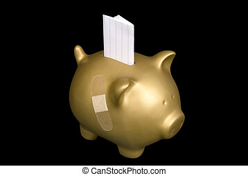 Gold piggy bank with blank paper - A gold piggy bank wounded...