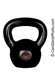 Kettle bell - An isolated black kettle bell on a white...