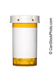 Pill bottle on white background - A medical pill bottle with...