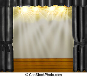 Stage with gray velvet curtains and wooden floor. - The...