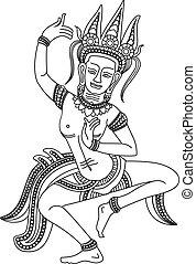 """Apsara(Draw Me) - """"Apsara"""" Khmer Apsara of Angkor Wat temple..."""
