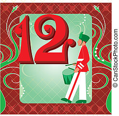12th Day of Christmas - Vector Illustration Card for the 12...
