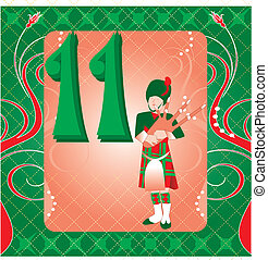 11th Day of Christmas - Vector Illustration Card for the 12...