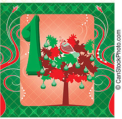1st Day of Christmas - Vector Illustration Card for the 12...