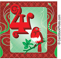 4th Day of Christmas - Vector Illustration Card for the 12...