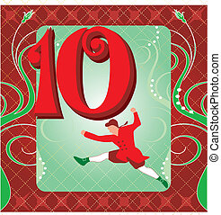 10th Day of Christmas - Vector Illustration Card for the 12...