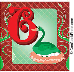 6th Day of Christmas - Vector Illustration Card for the 12...