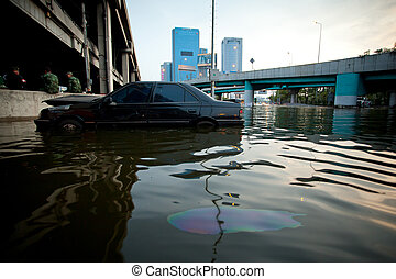 Car swamping in flood water - BANGKOK, THAILAND - NOVEMBER 5...