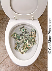 Toilet and money - A pile of money getting ready to be...