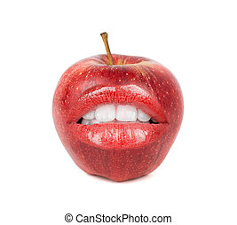 apple with open mouth - fresh red apple with open mouth on a...