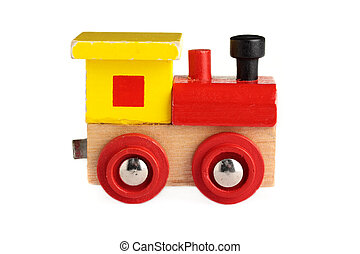 Toy train - A well used toy train, isolated on a white...