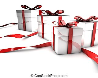 Christmas gifts with red ribbons over white background