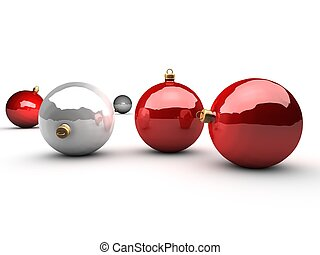 red and silver christmas balls over white background