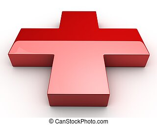a Red 3d cross over white background