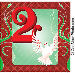 2nd Day of Christmas - Vector Illustration Card for the 12...
