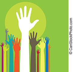 Raised hands - Vector background illustration with raised...
