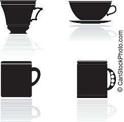Set of vector silhouettes of tea cups