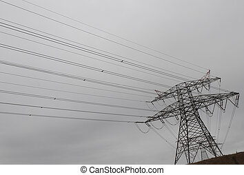 High power transmission lines distributing electricity