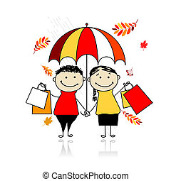 Autumn sale! Family with shopping bags for your design
