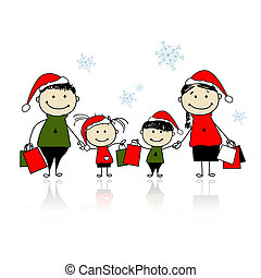 Christmas gifts. Family with shopping bags