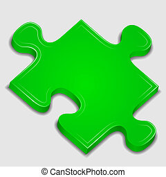 Puzzle Icon - Icon of green puzzle piece, vector