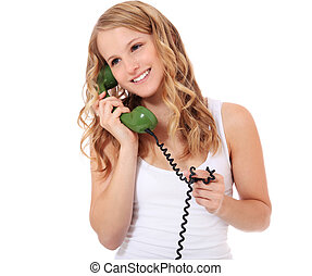 Phone call - Attractive young woman making a phone call. All...